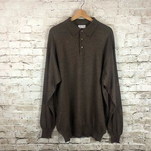 Men's Gran Sasso Brown Polo Sweater Size XLT